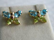 Clogau 9ct Welsh Gold Peridot & Blue Topaz Butterfly Stud Earrings RRP £360.00