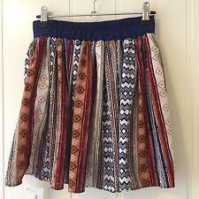Flowy Multicoloured Aztec Geometric Print Boho Skirt, Size 6-8, BNWT **REDUCED!!