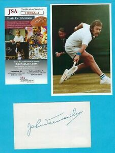 John Newcombe Autographed 3x5 Index Card With 4x6 HP Photo Tennis Champ JSA COA
