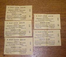 5 Vintage 1963 Tickets - 2 Day Coin Show - Lebanon Valley Coin Club Pennsylvania
