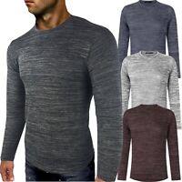 Blu Apparel Mens Long Sleeve Knitted Marl Top T-Shirt UK EU Size S M L XL XXL