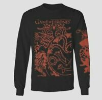Men's Tee Shirt Game of Thrones Black and Red Long Sleeve Size Large