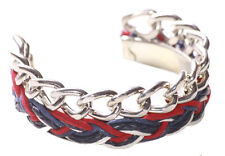 Enigmatic Dual Carriage- Chrome Chain & Red, White Blue Braided Bangle(Ns17)