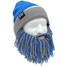 Detroit Lions NFL Blue Grey Beard Mask Winter Hat Beanie and Football NEW