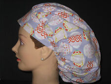 Surgical Scrub Hats/Caps Easter Eggs in Antique designs purple fabric