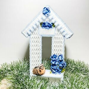 Cute Birdhouse style Tissue Box Napkin Cover Holder - Blue and white - Bird