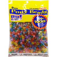 Darice Pony Beads Plastic Transparent Multicolor 9mm Big Value Pack