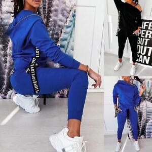 2PCS Womens Letter Print Zipper Hooded + Pants Tracksuit Set Casual Loungewear