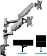 AVLT-Power Aluminum Dual Monitor Gas Spring Desk Stacking Arm Stand Riser Mount
