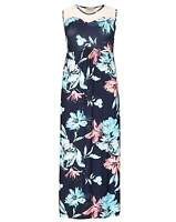 New Blue Pink Floral Print Side Plus Size Maxi Dress Simply Be Emily
