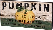 NEW~WOOD BOX SIGN~PUMPKIN EASY TO GROW FOR SOUPS PIES FEED YOUR SOUL~Seed Packet
