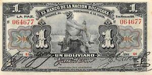 Bolivia  1 Boliviano  11.5..1911  P 103a  Series G1  Circulated Banknote NY1217