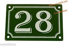 Plaque émaillée vert & blanche NUMERO de RUE 28 émail enamel plate street number