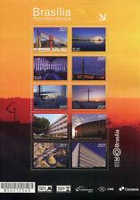 Brazil 2017 MNH World Heritage Brasilia 30 Yrs 10v M/S Architecture Stamps
