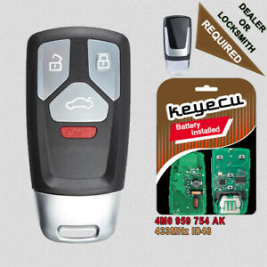 4B Remote Key Fob 433MHz for Audi A4 A5 Q7 SQ5 TT 2017-2019 - 4M0 959 754 AK