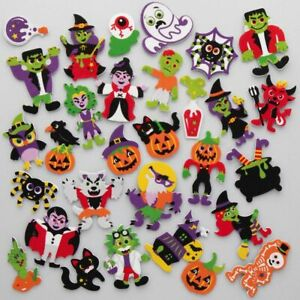 30 HALLOWEEN FOAM Stickers Kids Craft Peel Stick Activity Card Spider Bat Ghost
