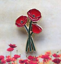 3 Stem Poppy Lapel Pin Remembrance Day * ANZAC Day*