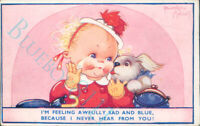 Beatrice Mallet Card Child With puppy Sad And Blue unposted