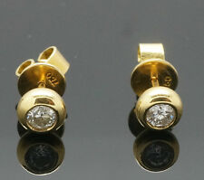 18carat Yellow Gold Rubover Set Diamond (0.50ct) Stud Earrings (5mm Diameter)