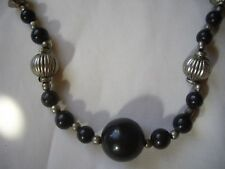 BLACK ONYX neclace & earrings set. With antiqued silver. NEW.