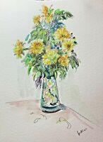 Original watercolour art vase of flowers impressionism shabby chic botanical