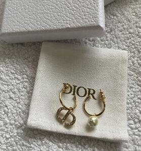 DIOR Gold Petit CD Hoop Earrings Crystal And Pearl Earrings
