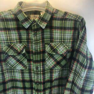 LL Bean Youth Boys L/S Flannel 1 pocket Green/Blue/Orange Plaid Shirt XL (18)