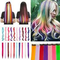 100% Real NATURAL Highlight Clip in Hair Extensions Rainbow For Human Hair Piece