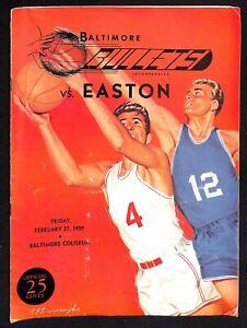 1959 EPBL Easton @ Baltimore Bullets Basketball Program 2/27 Rare 78225