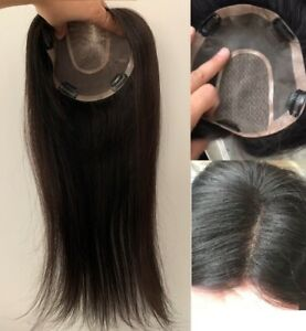 """100% Virgin human hair topper hairpiece-soft breathable single layer cap 6""""~30"""""""