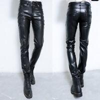 Men's PU Leather Skinny Long Pants Leather Motorcycle Biker Slim Fit Trousers