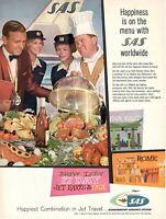 1961 Original Advertising' SAS Scandinavian Airlines System Happiness Menu '