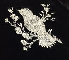 EMBROIDERED Champagne on BLACK Silk Velvet Fabric - Bird