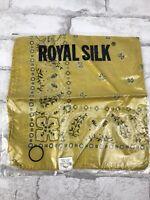 "New! Royal Silk Yellow Bandana Paisley Hair Scarf Handkerchief  India 20x20"""