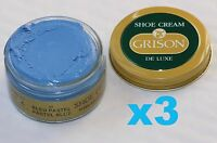 3 x 50ml BLUE GRISON DE LUXE SHOE CREAM light/pastel blue French leather polish