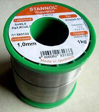 1 kg Stannol Crystal 511 Solder 1,0mm 5-seelig Sn95,5 Ag3,8Cu0,7 lead-free