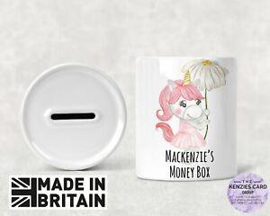 Personalised Any Name Savings Unicorn Daisy Money Box Piggy Bank