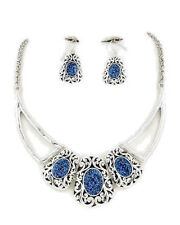 Blue Glitter Necklace and Earrings Jewelry Set Antique Silver NEW NWT  21