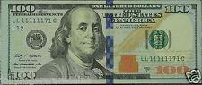 2009 A $100 Dollar Fancy Lucky Near Soild SN# LL 11111171 FR Note. Lot # F110-16