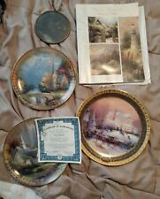 3 Vintage Thomas Kinkade Collector Series Limited Edition Plates + sun reflector