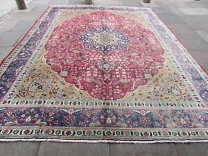 Vintage Hand Made Traditional Oriental Wool Red Blue Large Carpet 386x300cm