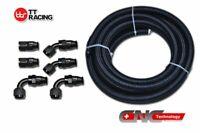 AN6 12FT Braided Black Nylon E85 PTFE Fuel Hose E85//Fuel Fitting Kit