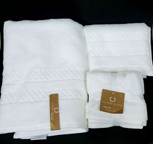 ALFRED SUNG WHITE,CHECKERS DESIGN BAMBOO,COTTON FLUFFY BATH,HAND TOWEL,WASHCLOTH