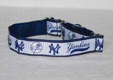 """1.5"""" Martingale Dog Collar NY Yankees - Ribbon on Nylon Webbing"""