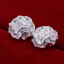 Pretty New Sterling Silver Plated Shiny 3D Rose Flower Stud Post Earrings