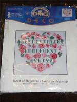 "DMC Counted Cross Stitch Kit - HEART OF BEGONIAS 10"" x 10"""