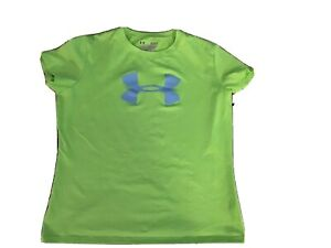 Under Armour Big Logo T SHIRT Loose green Heatgear girl youth Large Short Sleeve