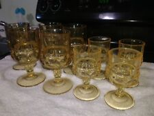 Set of 4 juice & 5 Wine Indiana Glass Kings Crown Thumprint Bright Yellow