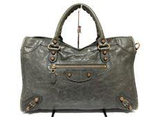 Auth BALENCIAGA Editor's Bag The Giant City 281770 Gray Leather Handbag