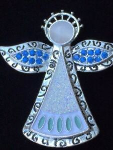 NWT KC SILVER BLUE GREEN MOON STONE CAT EYE CHRISTMAS HALO ANGEL BROOCH JEWELRY